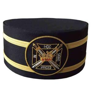 Masonic Knights Templar Black Cap with Gold Braid