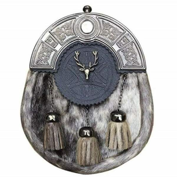 Scottish Handmade Men Kilt Antique Sporran Badge Style Stag Head Kilt Pin Buckle Brooch and Belt