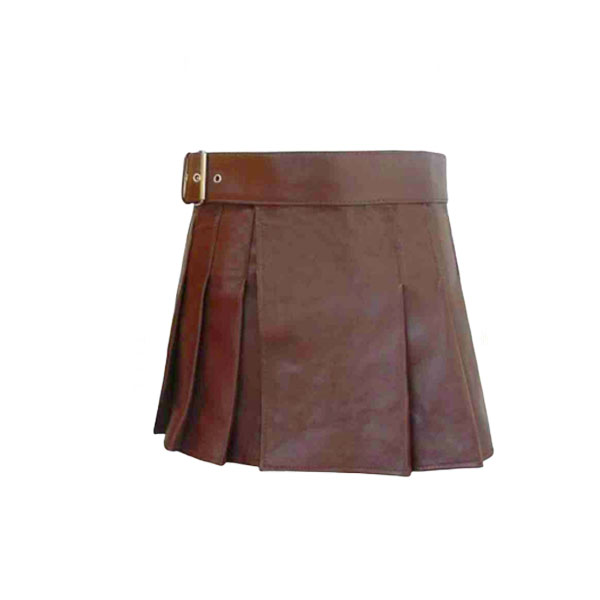 Brown Mini Leather Kilt