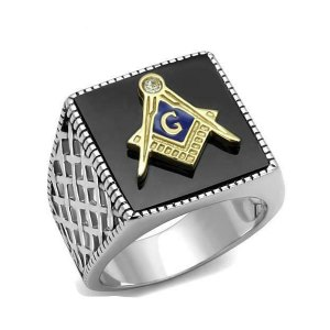 STAINLESS STEEL BLACK AGATE MEN'S MASONIC RING