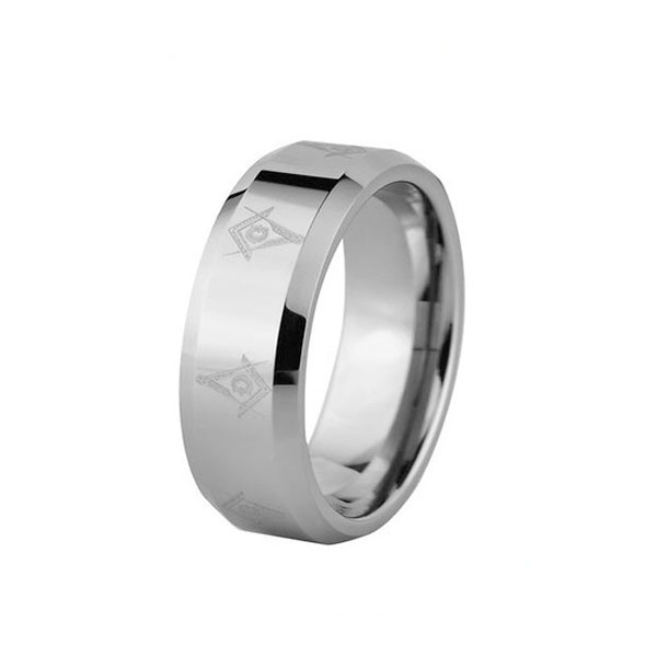 FREEMASON TUNGSTEN RING WITH BEVELED EDGE STEEL COLOR