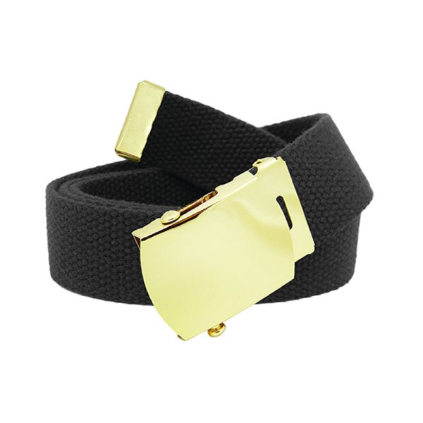 Military Canvas Web Belt with Gold Brass Slider Buckle