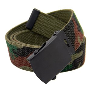 Men's Black Slider Military Belt with Metal Buckle