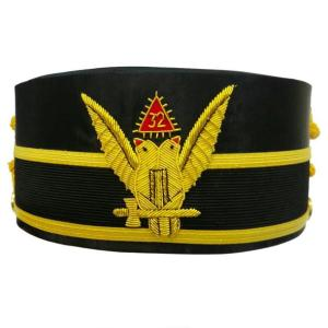 32nd Degree Scottish Rite Wings UP Double-Head Eagle Cap Bullion Hand Embroidery