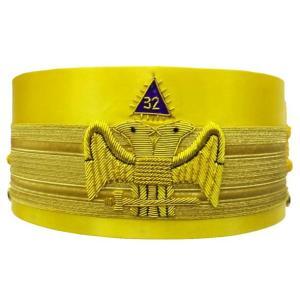 32nd Degree Wings DOWN Scottish Rite Yellow Cap Bullion Hand Embroidery