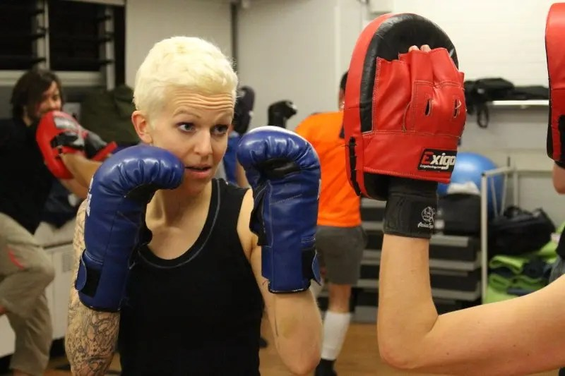 Savate class boxingpadwork with Ally female fighter