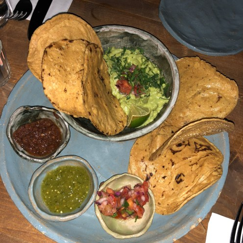 Corn chips with Guac and Corn Chips with 3 Salsa's Breddos Soho Review