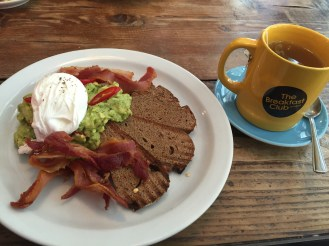 Avocado & poached eggs, bacon with Rye Bread @ Spitalfields branch