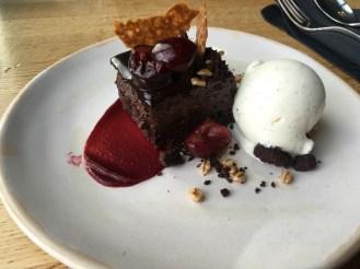 BARBECOA BROWNIE Vanilla Ice Cream, Poached Cherries