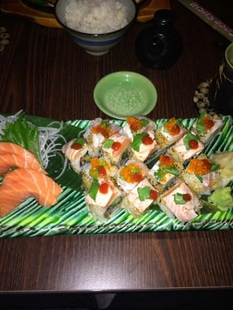 Salmon Sashimi; Mix of Crunchy Tuna and Fantasy Rolls