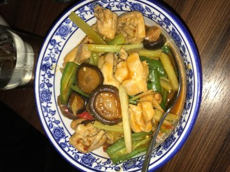 Stir fried chicken with shiitake mushrooms