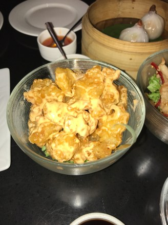 Popcorn shrimp with a creamy spicy dressing
