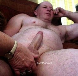 hung silver daddy helping hand cock massaged