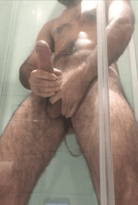 edge my big cock spunk in shower (2)
