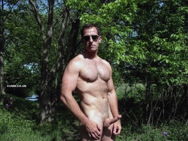 Mature-Youth-nude-dad-erect-in-woods