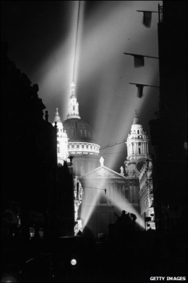 St Paul's is proudly lit for the first time since the beginning of the war.
