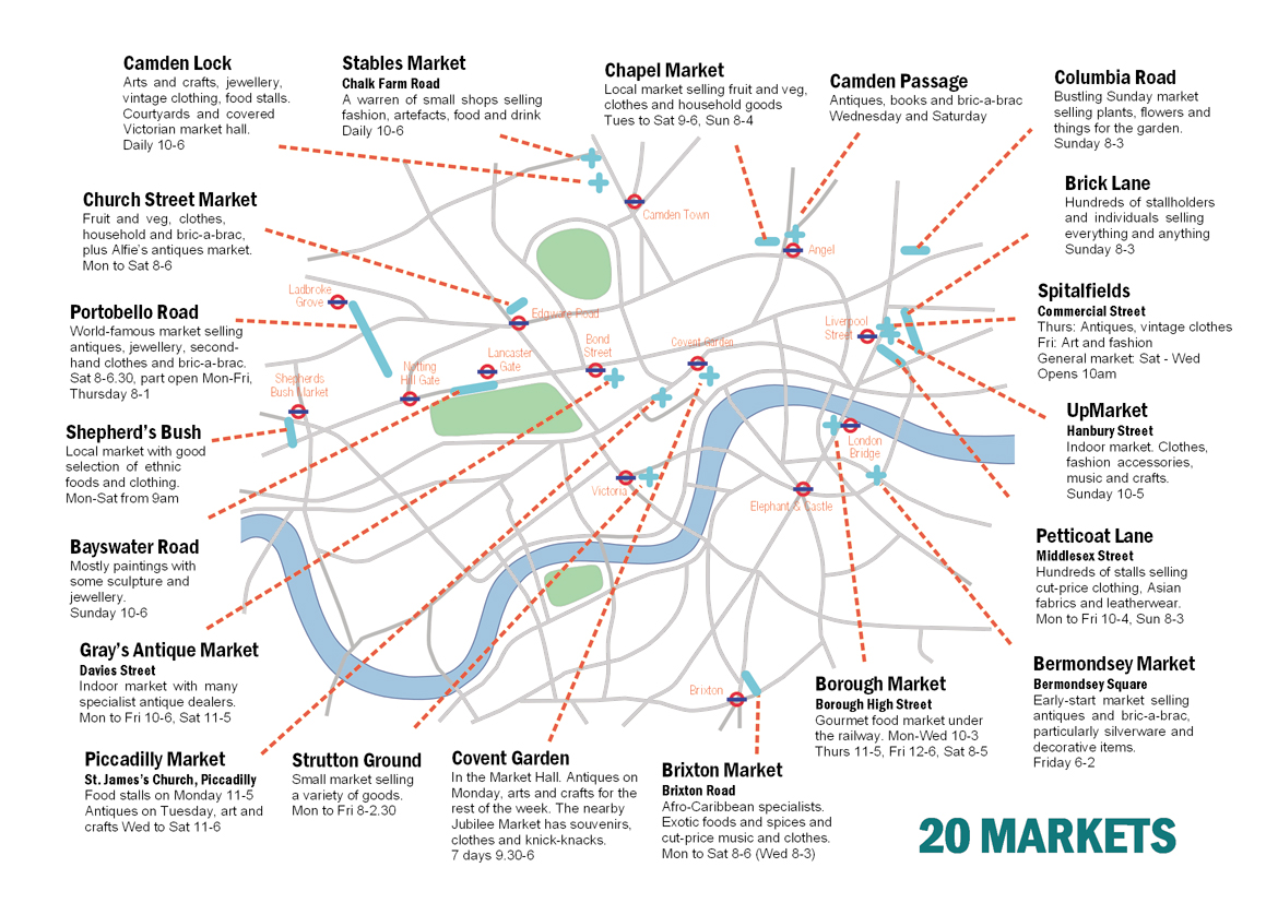 Street Markets Of London Handy Printable Map Guides You To London S Best 20 Markets Which Is Your Favorite Londontopia