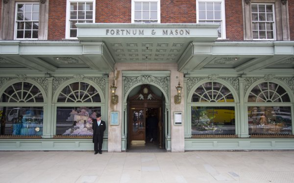 London, UK - July 26, 2011: Doorman in front of Fortnum and Mason department storel on July 26, 2011 in London, UK