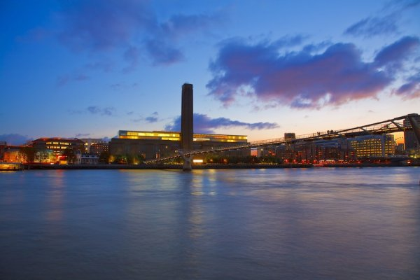 The Tate Modern lit up at dusk