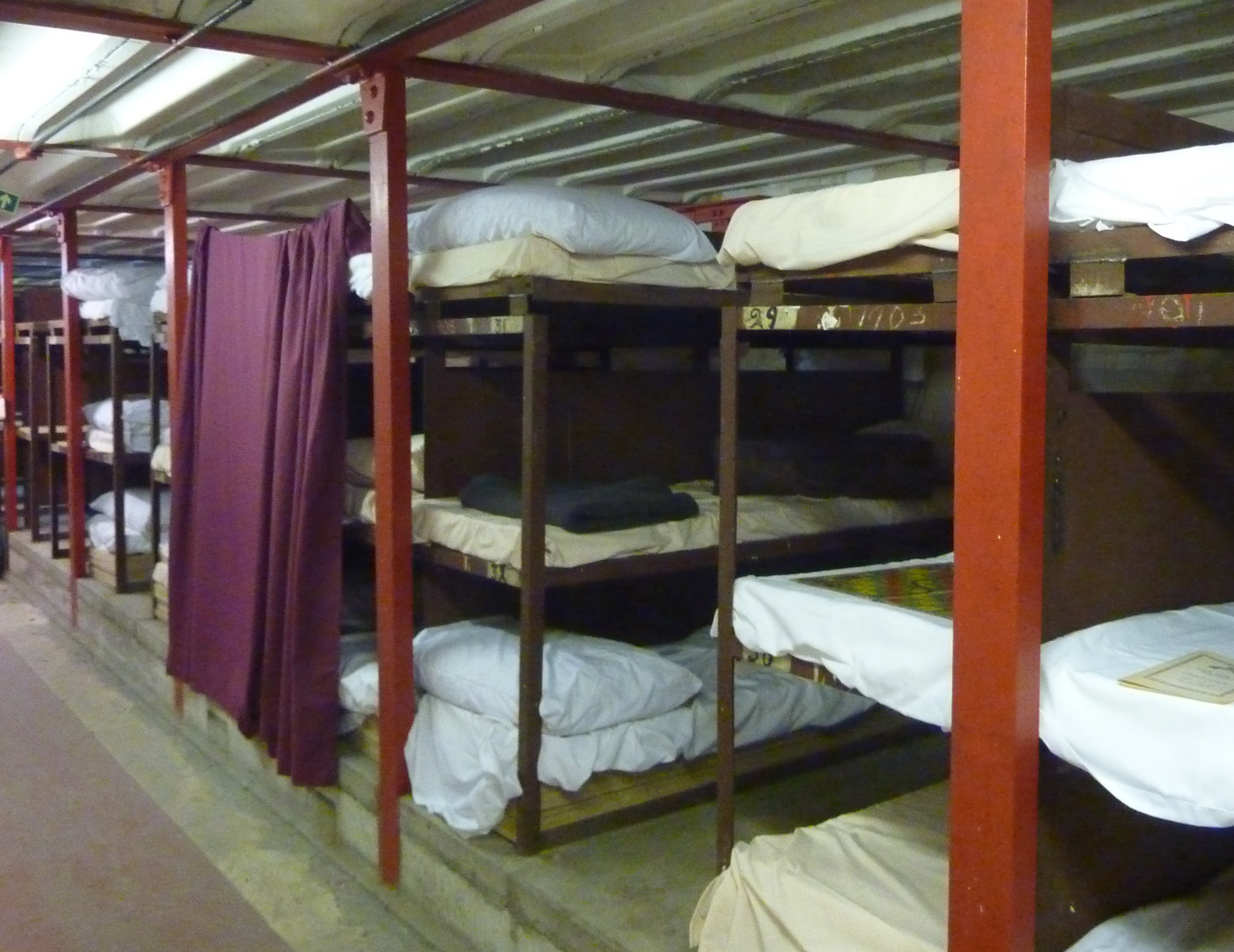 Clapham South deep-level shelter - bunk beds
