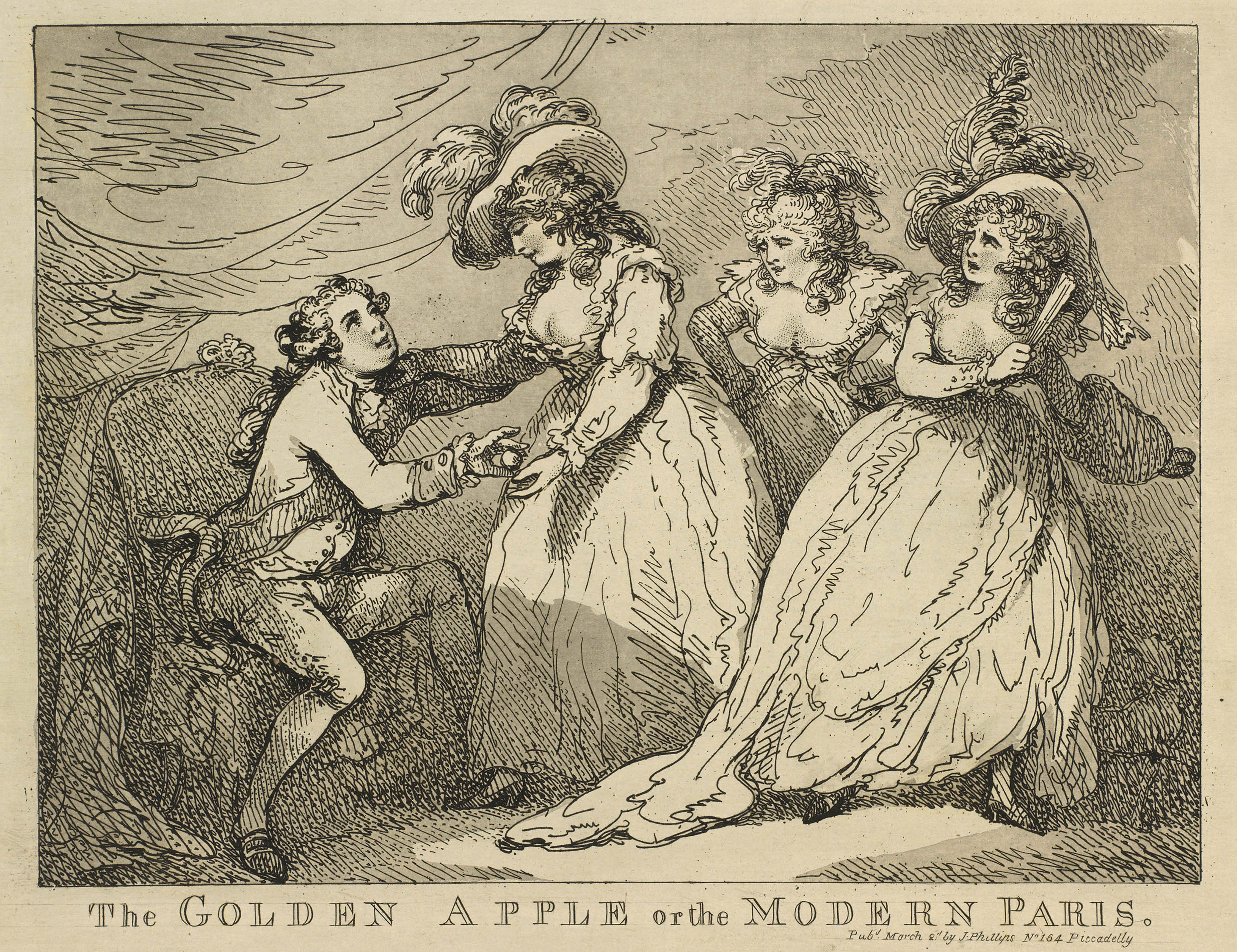 Thomas Rowlandson, The Golden Apple, or the Modern Paris, 1785