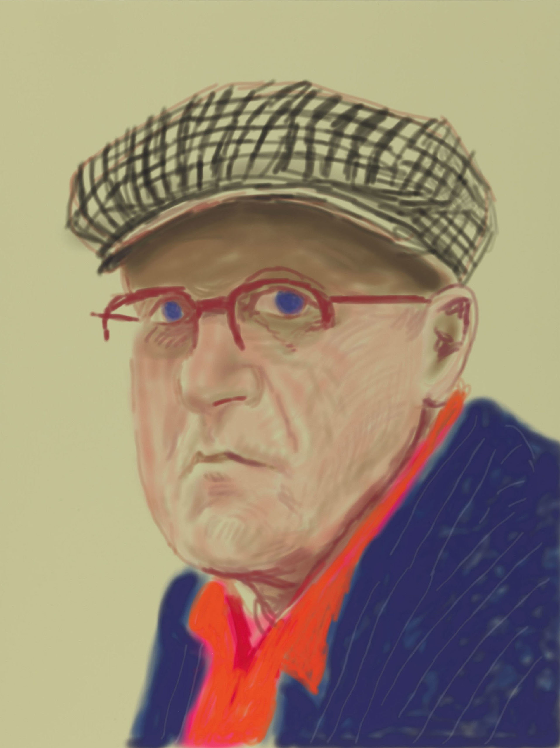 David Hockney self portrait No. 1201, 14th March 2012
