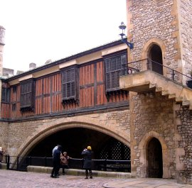 Part of the medieaval palace,  with Traitors' Gate below