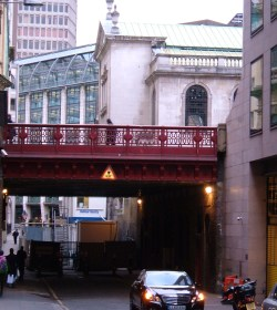 Holborn Viaduct over Shoe Lane, with St Andrew Holborn on the left