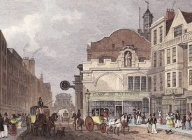 Fleet Street c.1830, with St Dunstan's clock on the right, and Temple Bar in the background