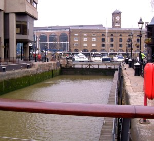 The lock gate into St Katherine's, West Basin