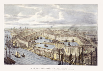 Proposed layout of St Katharine Dock, 1821