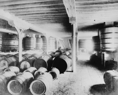 Wine casks in the vaults at Tobacco Dock