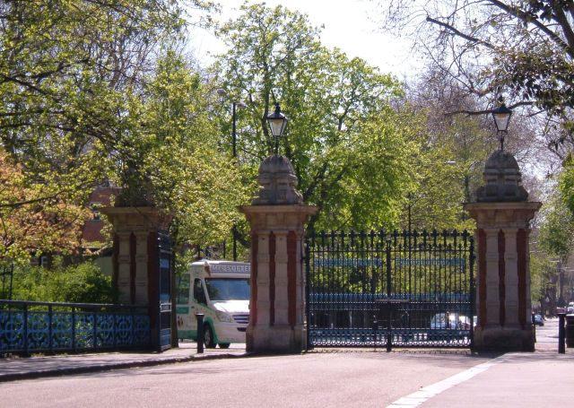 The Bonner Gate entry to Victoria Park, perhaps close to the site of Bonner Hall