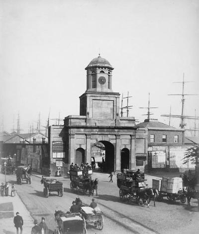 East India Docks, entrance gates, 1890