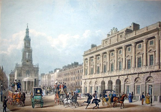 St Mary le Strand & Somerset House, 18th century print
