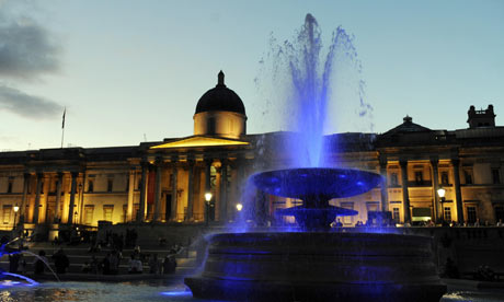 The fountains in Trafalgar Square, 2009