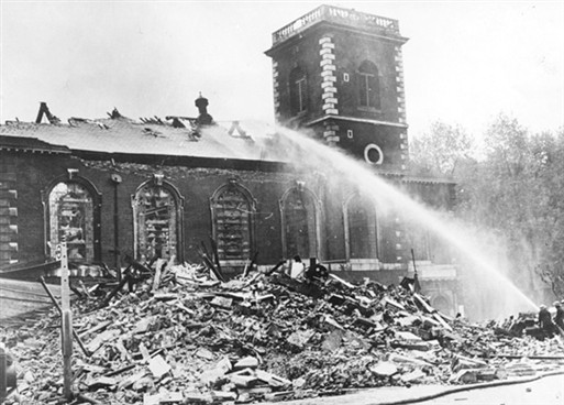 St James, 1940, after being hit by an incendiary bomb
