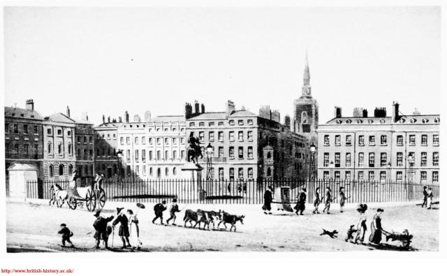 St James's Square in 1812, with no.13 in the l-hand top corner