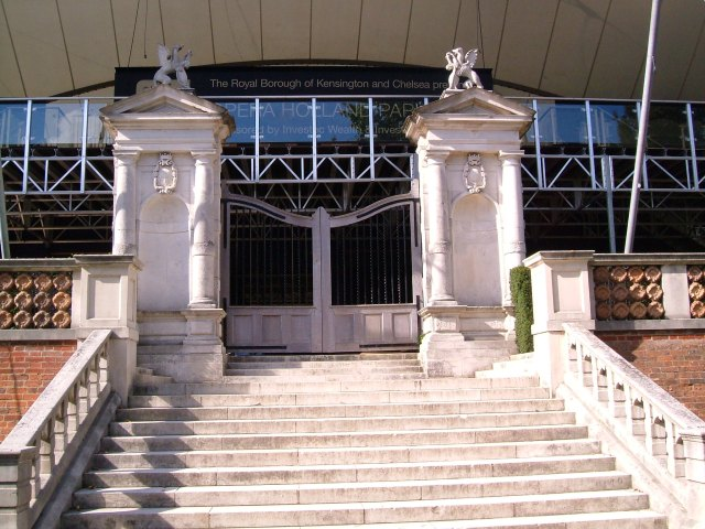 The stone piers today, the House prepared for Holland Park Opera