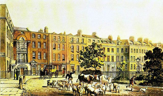 Soho Square, from Papworths Select Views of London, 1816