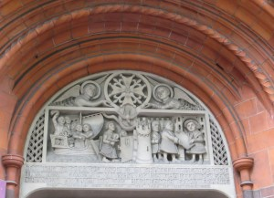 The tympanum over the doorway of the French Protestant Church, Soho Square