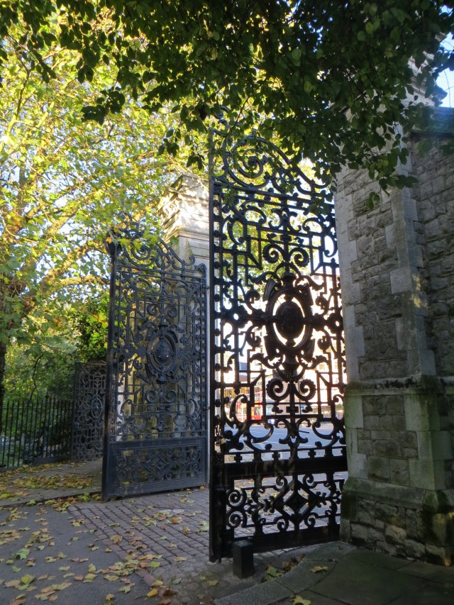 The gates into Bishop's Park