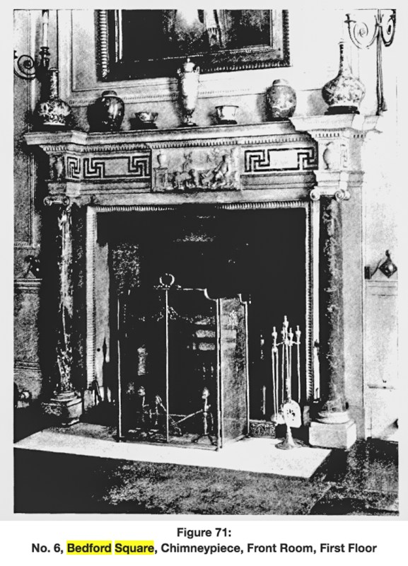 Chimney-Piece, front room, first floor, No.6 Bedford Square (http://www.british-history.ac.uk/survey-london/vol5/pt2/plate-71)