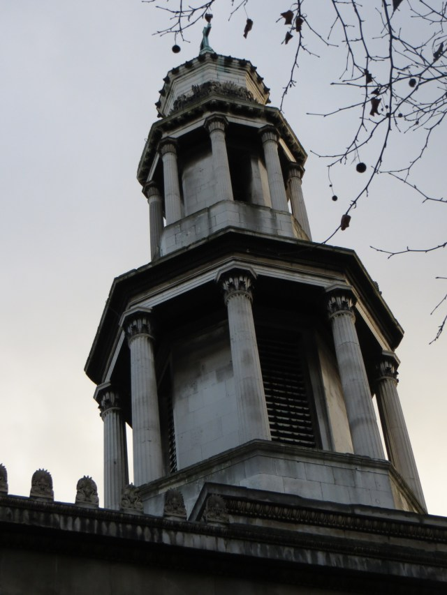 The spire of St Pancras New Church