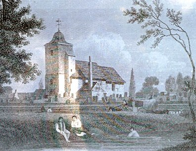 St Pancras Old Church 1827, with the Fleet River