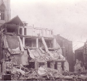 Scottish Church, Regent Square, bomb damage in 1945