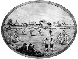 Early cricket game in White Conduit Fields