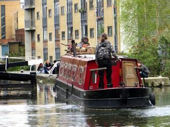 Barge entering Acton's Lock