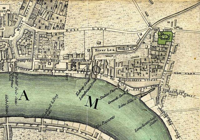 The Limehouse Cut in Carey's New and Accurate Plan of London, 1795