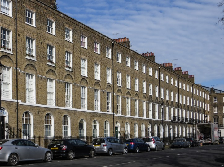 North side of Myddelton Square with no stucco work
